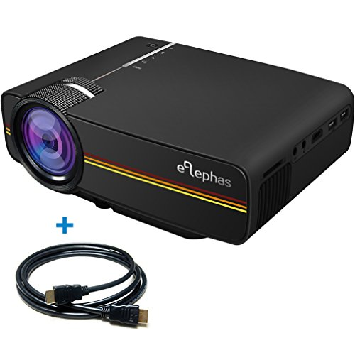 ELEPHAS 1200 Lumens LED Mini Video Projector, Support 1080P Portable Pico Projector Ideal for Home Theater Cinema Movie Entertainment Games Parties, Black (Home Theater 100 Projector)