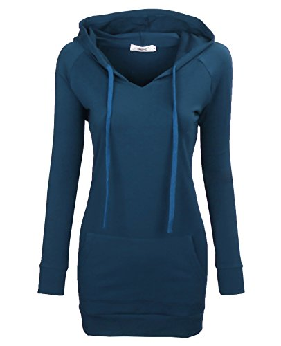 Bepei Womens Long Sleeve Tunic Sweatshirt String Hoodie With Pocket Aqua 3XL