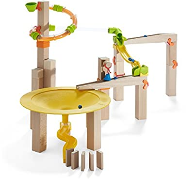 HABA Ball Track Basic Pack Funnel Jungle - Wooden Marble Run with Plastic Elements (Made in Germany): HABA: Toys & Games