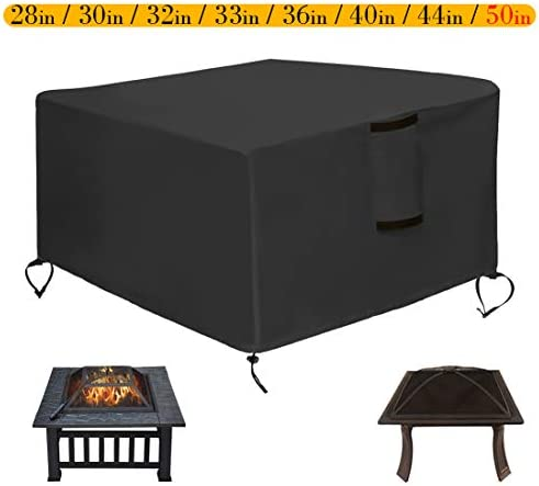 Saking Patio Fire Pit Cover Square 50 x 50 x 25 inch – Waterproof Windproof Anti-UV Heavy Duty Gas Firepit Furniture Table Covers