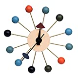 LCH Multi-color Wooden Ball Clock, Antique Retro Wall Clock, Designed by George Nelson