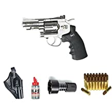 "ASG Dan Wesson 2.5"" Silver Revolver Steel BB Airgun with Holster, Cartridges, Extra BBs, and a Speed-Loader"