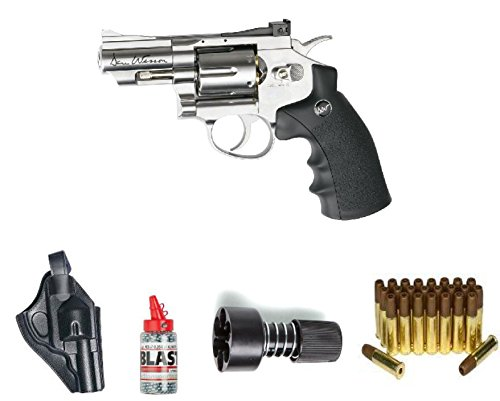 Silver Air Pistol - ASG ASG17177Kit-B Dan Wesson Revolver Steel BB Air Gun with Holster/Cartridges/Extra BBs/& Speed Loader, Silver, 2.5