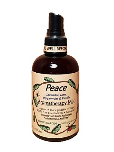 Peace Aromatherapy Body and Room Spray Mist - Lavender, Lime, Peppermint, Vanilla - 100% Pure Essential Oils - All Natural, Earth Friendly - Vegan, Organic, Non GMO (4 oz)