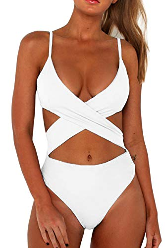 - CHYRII Women's Sexy Criss Cross High Waisted Cut Out One Piece Monokini Swimsuit White L
