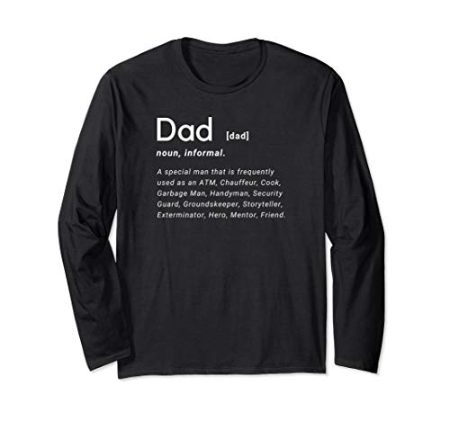 Dad Definition Father's Day Funny Mens Hilarious Adult Humor Long Sleeve T-Shirt ()