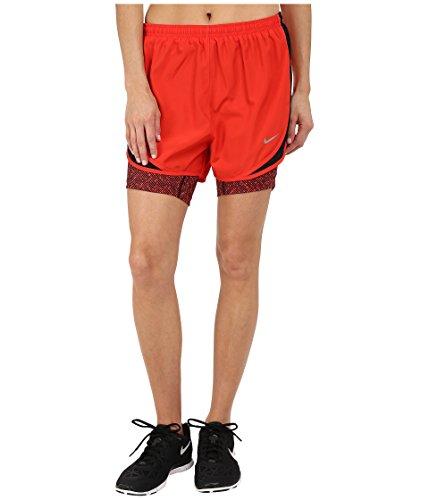 Nike Women's 2-in-1 Tempo Print Compression Short, Black/Light Crimson/Reflective Silver, XS X 3 ()