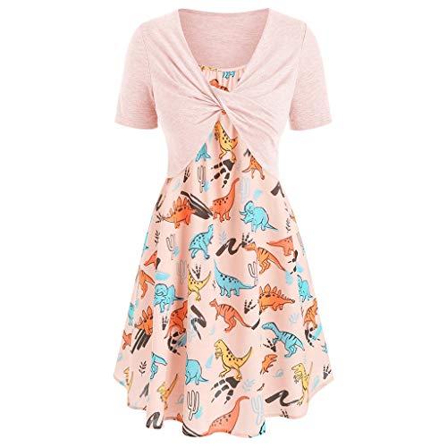 (Women's Summer Casual Short Sleeve Tops Boho Print Swing Mini Dress 2 Piece Outfit(Orange 2,S))