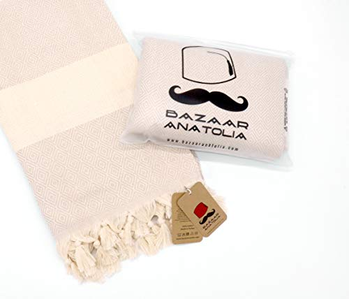 """Bazaar Anatolia Diamond Turkish Towel 100% Cotton Peshtemal Bath Towel 77x38 Thin Lightweight Travel Camping Bath Sauna Beach Gym Pool Blanket Fouta Bridesmaid Gift Quick Dry Towels (Cream) - HIGH QUALITY: Bazaar Anatolia Turkish towels are made in Turkey with high quality cotton. Quick dry towel absorbs water quite fast and dries very quickly without mildewy smell. Becomes softer and absorbent after several washes. MATERIAL and SIZE: 77x38"""" (196x98cm) 15 oz (420 Grams) Natural-dyed, pure 100% cotton, no harmful substances or chemicals, eco-friendly. Turkish beach towel is easy to carry, large and takes up less space. MULTI-PURPOSE: You can use as beach towel, bath towel, pool towel, bath towel, scarf, shawl or blanket. Also Turkish towels can be a unique idea for bridesmaid gifts, bachelorette party favors and wedding favors. You can use the pehstemal towel as a scarf on the outside, as a shawl on the terminal, as a travel blanket on an airplane, and as beach towels or turkish beach blanket when you get off the plane and go to the beach. - bathroom-linens, bathroom, bath-towels - 417QowXbB2L -"""