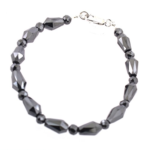 Handmade 10-6mm Black Diamond Faceted Beads Bracelet with 925 Silver Clasp by skyjewels