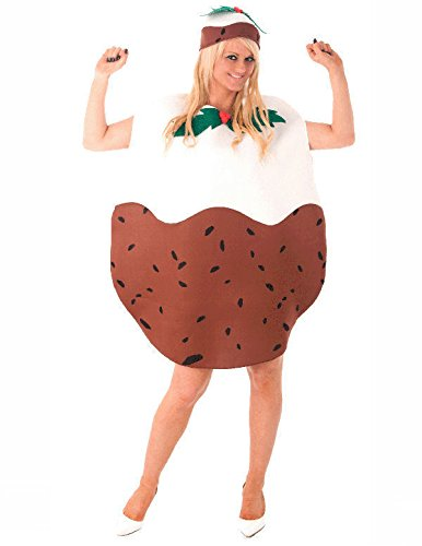 Christmas Pudding Outfit.Adult Christmas Pudding Xmas Party Funny Fancy Dress Costume
