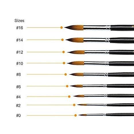 Pinceles para Pintar, Pintura al óleo/Acuarela, 9 Pinceles para Pintar Piezas Nylon oro Detalle: Amazon.es: Hogar