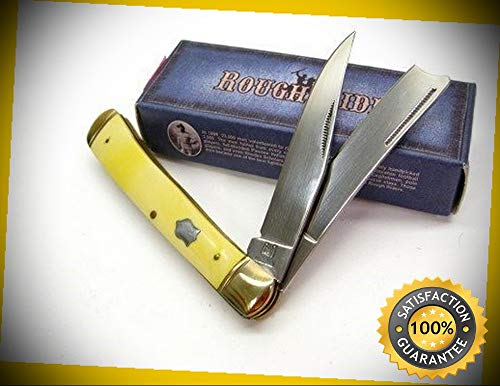 (Yellow Razor Trapper 2 Blade Folder Folding Pocket Sharp Knife 892 perfect for outdoor camping hunting)