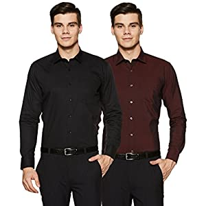 Amazon Brand – Symbol Men's Solid Loose Fit Full Sleeve Formal Shirt (Combo Pack of 2)