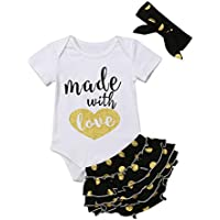 Newborn Tutu Bloomers Outfit Baby Girl Blessed Bodysuit Onesie Floral Ruffle Shorts with Headband Summer Clothes Set Green