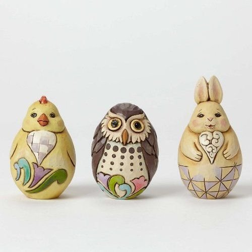 Jim Shore Heartwood Creek Set of 3 Easter Eggs Owl, Chick & - Bunny Easter Jim Shore