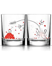 BOLDLOFT Couples Drinking Glasses- Matching Couple Stuff, Couples Gifts for Anniversary Valentine's Day Wedding Engagement Christmas,His and Hers Gifts for Husband Wife Boyfriend Girlfriend