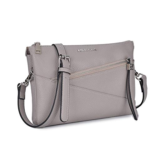 Small Purses and Handbags for Womens Crossbody Shoulder Bags Zip Satchel PU Leather Multi Pockets (l grey)