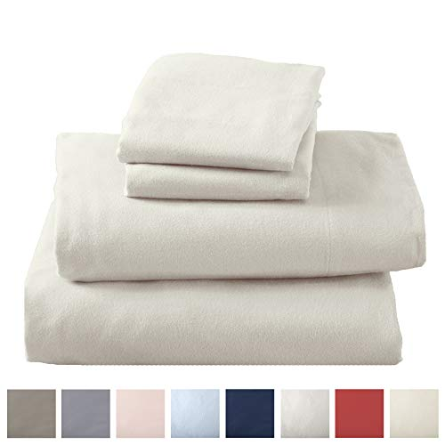 Great Bay Home Extra Soft 100% Cotton Flannel Sheet Set. Warm, Cozy, Lightweight, Luxury Winter Bed Sheets in Solid Colors. Nordic Collection By Great Bay Home Brand. (Twin, Pristine Ivory)