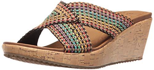 (Skechers Cali Women's Beverlee Delighted Wedge Sandal, Multi, 8 B(M) US)