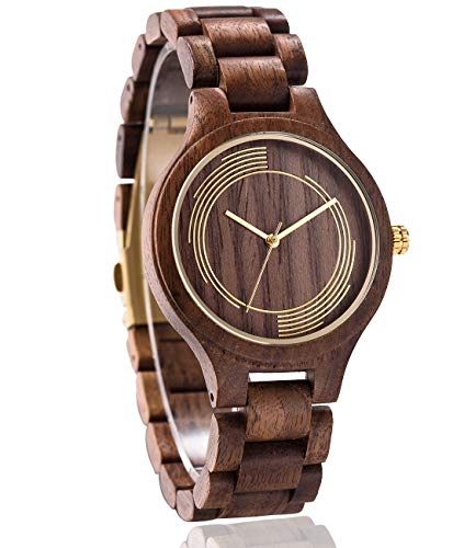 Handmade Wood Watch for Man or Woman - OMELONG Lightweight Wooden Wrist Watch with Japan Quartz Movement Gold Circles on Round Dail(Walnut Wood 1)