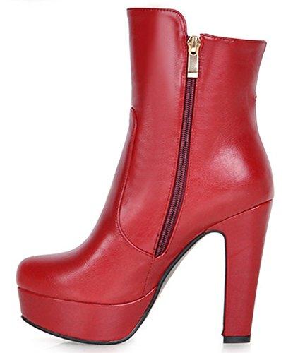 IDIFU Womens Elegant High Chunky Heels Platform Side Zip Up Riding Ankle Booties Red CzStf6FKZ