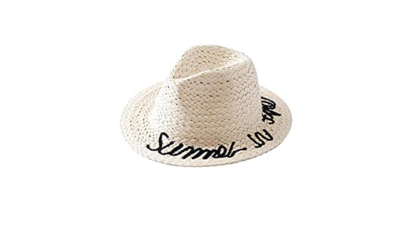 FENICAL Kid Straw Sun Hat English Vocabulary Decor Outdoor Sun Block Cap for Kid Girl Child Boy Coffee