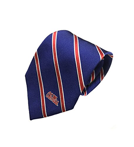Ole Miss Rebels Mens Silk Tie - Thin Stripe w/Collegiate Logo - Navy Blue and Red - One Size - Zep-Pro - NCAA LIC. - University Of Mississippi Old Miss