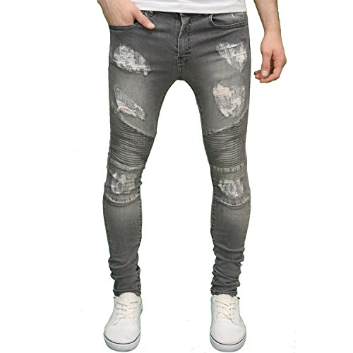 526 Designer Stretch Super Skinny Ripped Abraised Distressed Cut Biker Jeans
