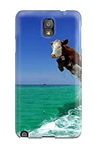 ZippyDoritEduard Scratch-free Phone Case For Galaxy Note 3- Retail Packaging - Funny Flying Cow And Dolphin