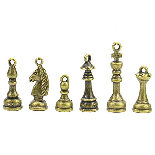 Monrocco 10 Set Antique Bronze Chess Charms Set King Queen Rook Knight Bishop Pawn Charms for Jewelry Making and Crafting ()
