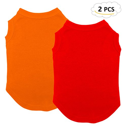 Chol&Vivi Dog Shirts Blank Clothes, 2pcs Dog T-Shirts Apparel Fit Fot Small Extra Small Medium Large Extra Large Dog Cat, Cotton Shirts Soft and Breathable