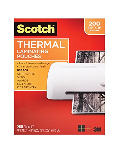 - Scotch Thermal Laminating Pouches, 8.9 x 11.4-Inches, 3 mil thick, 200-Pack, Clear (TP3854-200)