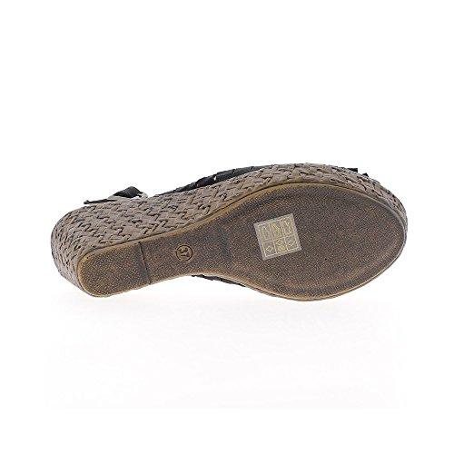 Sandales compensées noires avec noeud à talon de 8,5cm et plateau