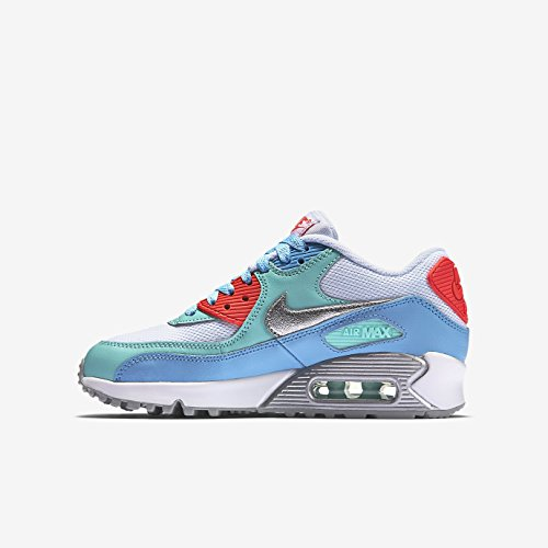 Nike Air Max 90 Mesh (GS) - Zapatillas de running, Niñas Blanco - blanco multicolor