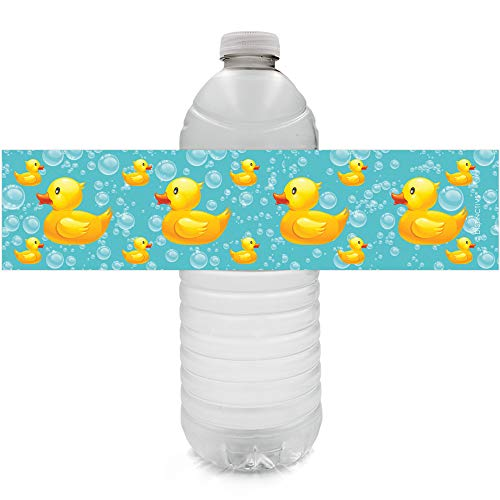 Rubber Ducky Bubble Bath Baby Shower Water Bottle Labels - 24 Stickers -