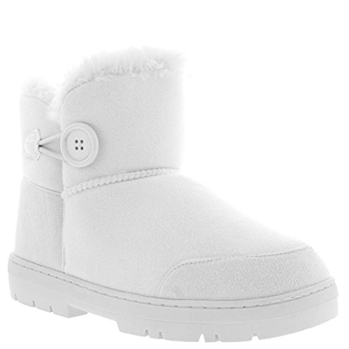 Holly Womens Button Mini warme Schuhe Winter flache Schnee Regen Stiefel Weiß