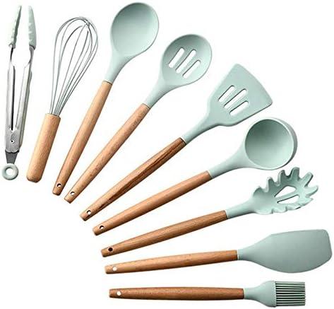 xmwm Silikon Egg Beater Pasta Server Schaber Suppe Löffel Küche Kochwerkzeuge Küchengeschirr Pinsel Spatel, Schwarz 5