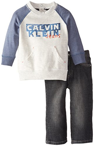 Calvin Klein Baby Boys' Gray Blue French Terry Top with Jeans, Gray, 12 Months by Calvin Klein