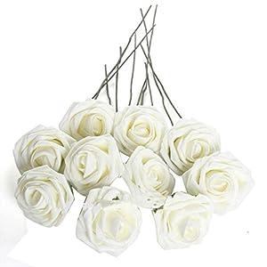 Beautiful 50Pcs Artificial Flowers For Wedding Arrangement Bouquet Roses Bridal Foam Romantic Diy Pure White 10