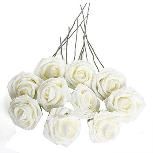 Beautiful 50Pcs Artificial Flowers For Wedding Arrangement Bouquet Roses Bridal Foam Romantic Diy Pure White