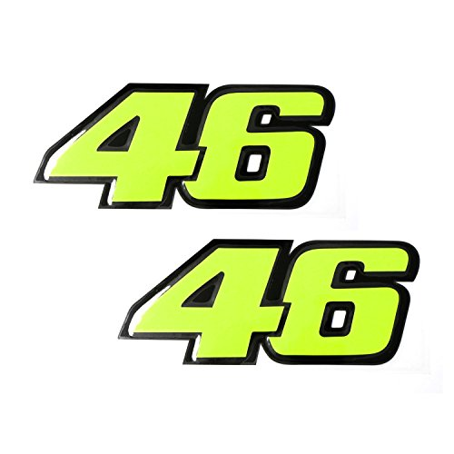 "2pcs Reflective Fluorescent Yellow VALENTINO ROSSI 46 MotoGP Racing 6"" (150mm) Vinyl Stickers Decals For Bike Motorcycle Car, etc"