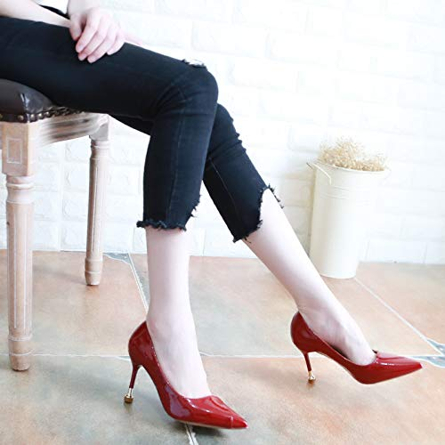 Shallow Shoes Thirty Stilettos 9Cm Pointed Sexy KPHY Gules Lacquer Red Five Leather Single Shoes Thin Autumn High Women'S Heels BwOxEaSZq