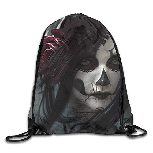 Funky Drawstring Bag Scary Sugar Skull Girl Art