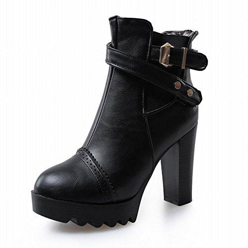 Latasa Womens Neutral Buckle Zipper Side Chunky High-heel Platform Short Boots Black D9oT5