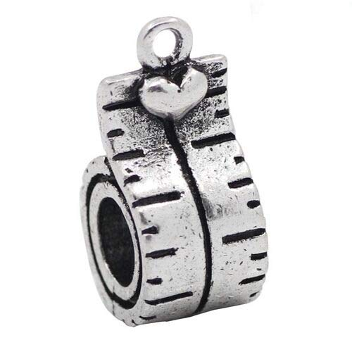 Pendant Jewelry Making Antiqued Silver 19mm Tape Measure Traditional Charm or Large 5mm Hole Charm Bead