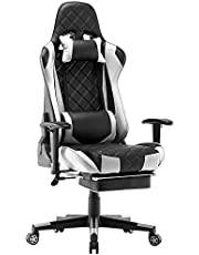 Gaming Chair with Footrest, Racing Office Chair High Back Computer Desk Chair PU Leather Chair Executive and Ergonomic Swivel Chair with Headrest and Lumbar Support (White)