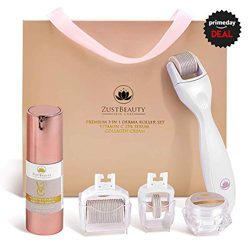 Derma Roller Kit for Face & Body Skin Care All-In-One Facial Roller with Vitamin C 25% Hyaluronic Serum, Collagen Cream, 180, 600 & 1200 0.3MM Micro-Needle Replacement Heads & Manual Set- ZustBeauty