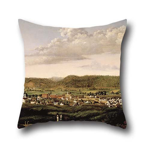 Throw Pillow Covers Of Oil Painting Jennings, J. S., Artist - Scene Of Corning, New York 18 X 18 Inches / 45 By 45 Cm,best Fit For Chair,sofa,him,home Theater,living Room,lounge Double Sides