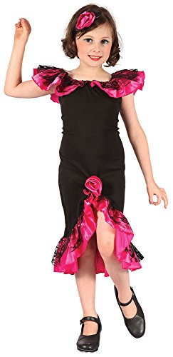 Bristol Novelty CC323 Rumba Girl Costume, Pink, Small, Approx Age 3 -5 Years, Rumba Girl. Black/Pink -